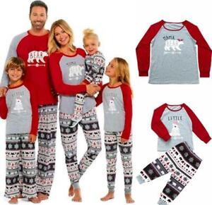 Xmas Family Matching Christmas Pajamas Bear Print Nightwear Kids Adults Pyjamas