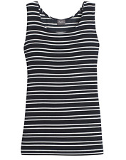 8d33ad651b28d7 Chico s Travelers Ink Blue White Stripe Reversible Scoop Neck Tank 3 XL 16