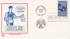 POSTAL HISTORY-1960 FDC EMPLOY THE HANDICAPPED ISSUE TRI-COLOR CACHET NEW YORK