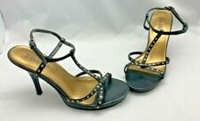7 ORCHIDS Black Bronze Studded Ankle Strappy High Heel Open Toe Shoe Womens Sz 8