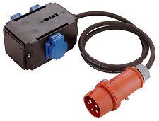 Stromverteiler 3 Steckdosen 230V je 16A, Zuleitung CEE 400V 1,5m Kabel Art. 609