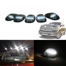 5pcs Smoked Cab Roof Marker Lamps w/ White Strip LED Lights For Most Trucks SUV