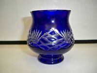 CUT TO CLEAR SMALL COBALT BOWL/VASE