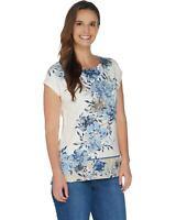 Denim & Co. Womens Printed Dolman Cap Sleeve Curved Hem Top Medium Blue A305196