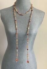New Very long Elegant Freshwater Pearls and Carnelian Gemstones Necklace 63""