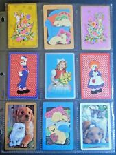 9 Vintage Swap Playing Cards 4 Pair-Raggedy Ann Andy-Hippie Bird-Siamese Cat-Dog