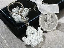50 White Royal Crown Cinderella Fairytale Tiara Keychain Bridal Wedding Favors