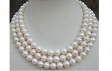 18-20inch triple strand 9-10mm round natural south sea white pearl necklace 14K