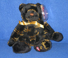 TY BLACK STARLIGHTthe BEAR BEANIE - UK HARRODS EXCLUSIVE - MINT with MINT TAGS