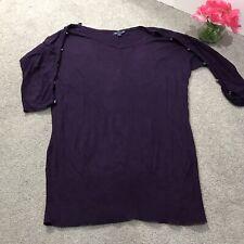 GAP Button Sleeve Sweater Top Sz Medium M Purple 3/4 Open Sleeve Pullover EUC