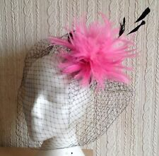 pink feather fascinator black french veiling veil hair clip brooch headpiece