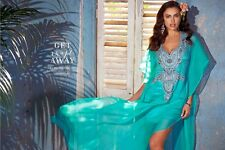 BEBE AQUA BLUE BEADED SILK KAFTAN DRESS NWT NEW $298 XSMALL XS