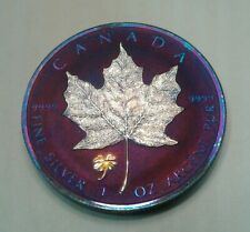 2016 Canadian Maple Leaf Clover Privy ,1oz silver coin  beatifully toned.