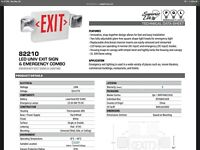 """2 PQL LED Emergency Light-Exit Sign Combo. 6""""Red Exit Letters Emerg BU Battery"""