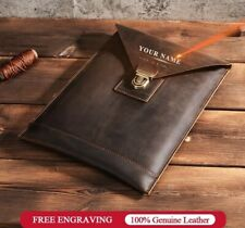 Genuine Leather Laptop Bag Sleeve Case For MacBook Dell Asus HP Acer Laptops