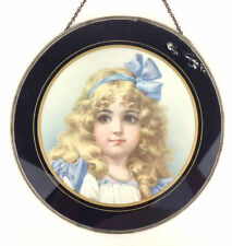 "Antique Victorian Girl Flue Cover Frances Brundage Reverse Painted Glass 11"" U22"
