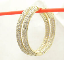 "1.25"" Inside out Pave Diamonique CZ Hoop Earrings 14k Yellow Gold Clad Silver"