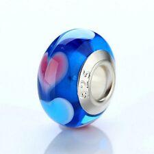 L'AMOUR, Blu Cuore di vetro di Murano Ciondolo. ORIGINALE e timbrato 925 Argento
