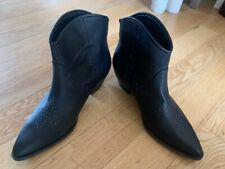 Next - Black Cowboy Style Ankle Boots with studded pattern - Size 8