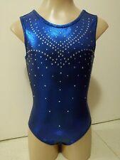 NEW BLUE SHINY FOIL Child M 50cm Kids 8 Gymnastics Skate Clothes Gym Leotard