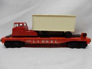POSTWAR LIONEL 6430 TRAILER   FLAT CAR WITH  WHITE VAN & MIDGETOY TRUCK, C-7 EX+