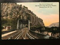 Vintage Postcard>1915>B & O Bridge & Tunnel>Maryland Heights>Harpers Ferry>W Va