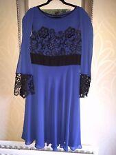 BNWT Berkertex indigo blue black lace sz 16 ladies dress with wrap next day del