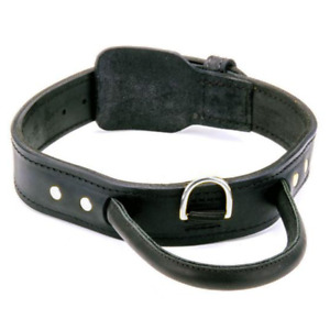 """Dog Collar With Handle Genuine Leather Large Pet Collar 1.75"""" Wide Heavy Duty"""