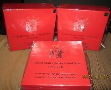 1999-2016 silver proof set-RED, STORAGE BOX--QTY of 3--