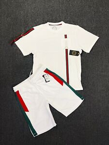 Mens 2-Piece Outfit Casual Hip Hop Striped Longline T-Shirt+Shorts Set (8 LEFT)