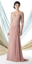 Mon Cheri Mother Of The Bride Groom Wedding Dress Size 6 Dusty Rose 3/4 Sleeve