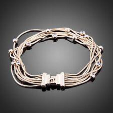 Designer Rose Gold Plated Layer Chain Multi Coloured Sparkly Rhinestone Bracelet