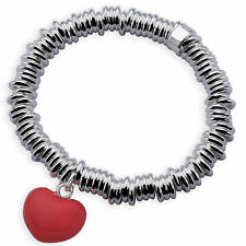 BRACELET BANGLE GENUINE REAL 925 STERLING SILVER S/F RED ENAMEL HEART CHARM
