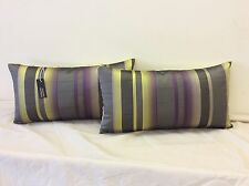 pkt 2 villa nova bolster cushions zagora stripe lime velvet backing designer