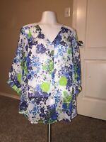 Womens Fig and Flower Anthropologie Floral and Stripes Top with Lace Shoulders