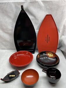 """Pack Of 8 Japanese Omakase Style 19""""L Red  Sushi Boat Serving Plates"""