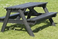 GARDEN ADULT PICNIC TABLE- BLACK 100% RECYCLED PLASTIC 1200mm