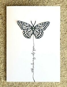Handmade Card blank sympathy thinking of you butterfly Cute Vintage