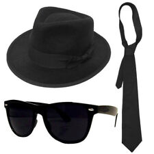 a08084df336 ADULTS GANGSTER SET BLUE BROTHERS HAT TIE GLASSES MENS 1920S FANCY DRESS