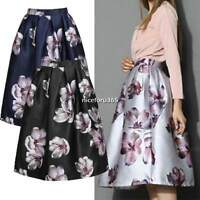 Vintage Style Womens Flared High Waist Midi Skater Pleated A-Line Swing Skirt