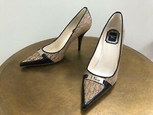 New Christian Dior brown monogram pump sz 37.5 7.5 logo metal heels shoe Italy