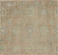 Muted Vintage Floral Traditional Area Rug Wool Hand-knotted Oriental Carpet 3x3