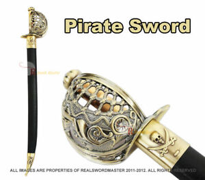 Mermaid Pirate Cutlass Sword with Basket Guard & Sheath