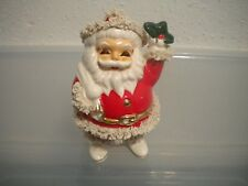 "Vintage Santa Claus  Spaghetti & Gold Trim  Coin Bank Made in Japan 7"" Tall"