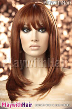 Natural Straight Style Heat Friendly Wig Bold Copper Red Mix