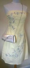 Vestido De Verano Jane Norman UK 16 pálida Limón/Plata Bordado Diamonte Bandeau