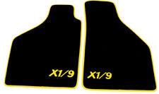 Fußmatten für Fiat X1/9  Velour Schwarz Logo X1/9 Gelb Autoteppich