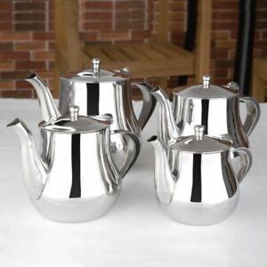 Stainless Steel Metal Teapot Cafe Tea Coffee Drink Restaurant Kitchen Flip Lid