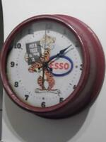 VINTAGE RETRO LARGE METAL ADVERTISING WALL CLOCK ESSO PUT A TIGER IN YOUR TANK