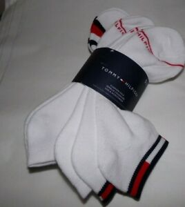 NWT MENS TOMMY HILFIGER SPORT SOCKS~6 PAIRS~ASSORTED WHITE